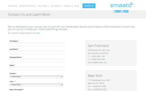 Screenshot of Contact Page smaato.com - Contact Us and Learn More - captured Sept. 17, 2014
