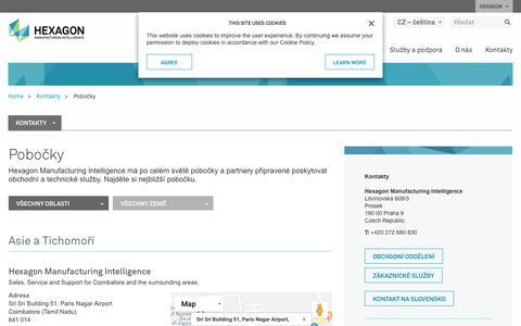 Screenshot of Locations Page hexagonmi.com - Pobočky | Hexagon Manufacturing Intelligence - captured Oct. 21, 2018