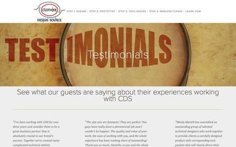 Screenshot of Testimonials Page clothierdesignsource.com - Testimonials — Clothier Design Source - captured Sept. 23, 2015