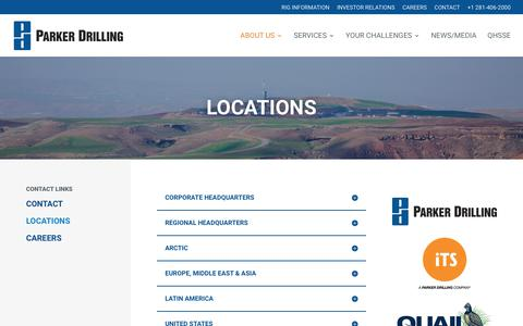 Screenshot of Locations Page parkerdrilling.com - Locations - Parker Drilling - captured Sept. 8, 2018