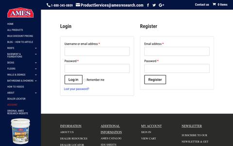Screenshot of Login Page amesresearch.com - Create an Ames Research Laboratory Account - captured Oct. 3, 2018