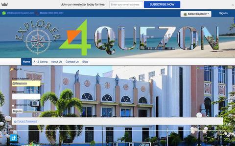 Screenshot of Login Page explorer4quezon.com - Home - Explorer 4 Quezon - captured Oct. 3, 2014