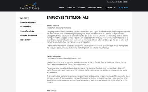 Screenshot of Testimonials Page bedsandbars.com - Beds & Bars - Employee Testimonials - captured Feb. 7, 2016
