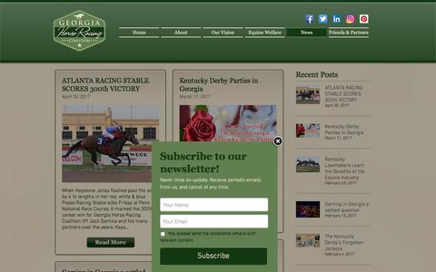 Screenshot of Press Page gahorseracing.org - Georgia Horse Racing Coalition - News - captured July 29, 2017