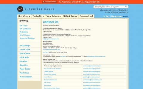 Screenshot of Contact Page chroniclebooks.com - Contact Us - captured Sept. 22, 2014