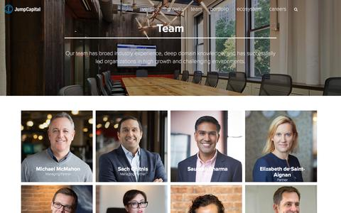 Screenshot of Team Page jumpcap.com - Team   Jump Capital - When it's time to scale your vision.   Jump Capital - captured Sept. 20, 2018