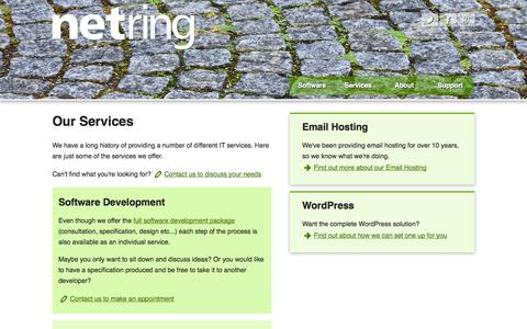 Screenshot of Services Page netring.co.uk - Services at Netring Ltd - captured Oct. 26, 2014