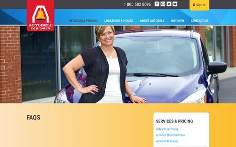 Screenshot of FAQ Page autobell.com - FAQs | How Often Should I Wash My Car? | Autobell - captured Nov. 19, 2016