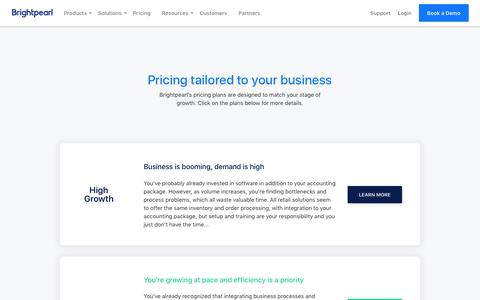 Screenshot of Pricing Page brightpearl.com - Brightpearl Pricing Plans | Brightpearl - captured Feb. 16, 2018