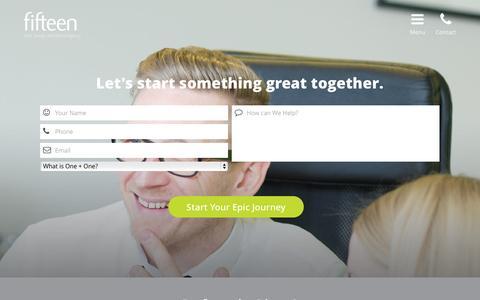 Screenshot of Contact Page fifteendesign.co.uk - Ready to start? - Fifteen Design - captured Sept. 22, 2014