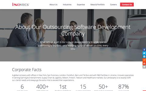 Screenshot of About Page innovecs.com - Outsourcing Software Development - Innovecs - captured July 17, 2018