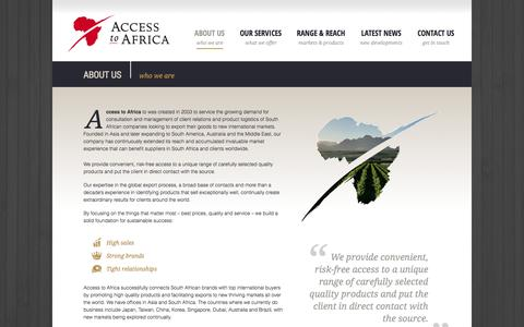 Screenshot of About Page accesstoafrica.com - Access to Africa Info: Exporting South African products since 2003 Access To Africa - captured Sept. 30, 2014