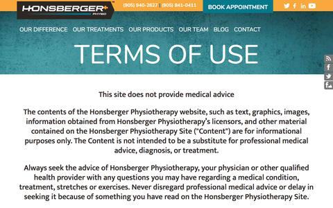 Screenshot of Terms Page honsbergerphysio.com - Honsberger Physiotherapy:Terms of Use - captured Sept. 1, 2017