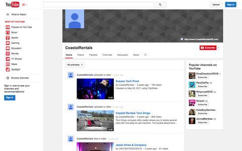 Screenshot of YouTube Page youtube.com - CoastalRentals  - YouTube - captured Oct. 22, 2014