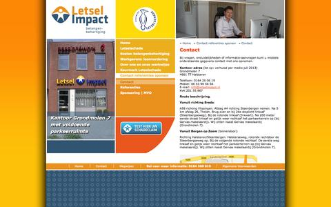 Screenshot of Contact Page letselimpact.nl - Contact, Letsel Impact, belangenbehartiging - captured Oct. 2, 2014