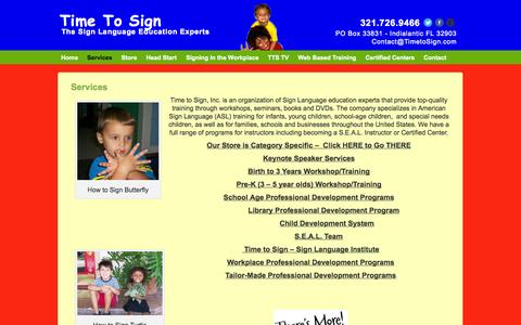 Screenshot of Services Page timetosign.com - Services | Time To Sign - captured Oct. 10, 2014