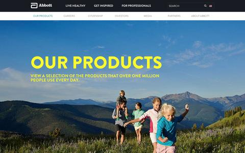 Screenshot of Products Page abbott.com - Our Products | Abbott U.S. - captured Sept. 10, 2014