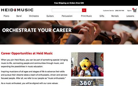 Screenshot of Jobs Page heidmusic.com - Careers @ Heid Music - Current Openings - About Us | Heid Music - captured July 18, 2018