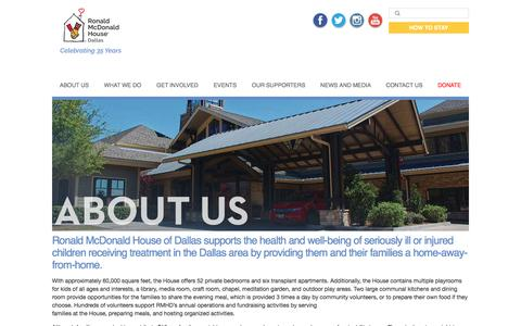 Screenshot of About Page rmhdallas.org - About Us | Ronald McDonald House of Dallas - captured Dec. 1, 2016