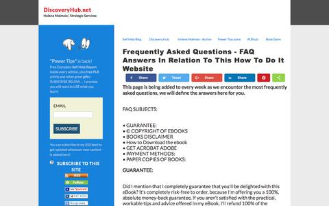 Screenshot of FAQ Page discoveryhub.net - Frequently Asked Questions - FAQ answers - captured July 6, 2018