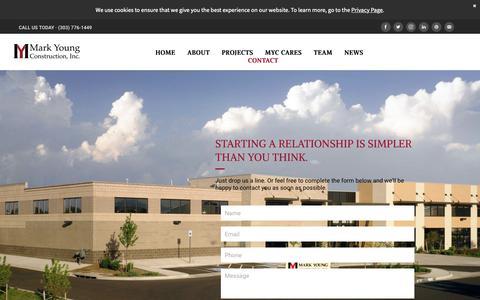 Screenshot of Contact Page markyoungconstruction.com - Contact Us - captured Oct. 16, 2018