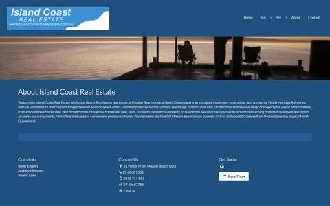 Screenshot of About Page islandcoastrealestate.com.au - Island Coast Real Estate - about island coast real estate - captured July 1, 2018