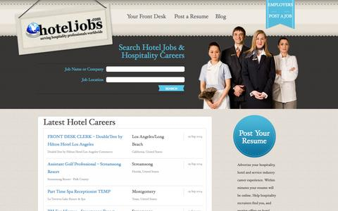 Screenshot of Home Page hoteljobs.com - Hotel Jobs: Book Your New Hotel & Hospitality Careers at Hotel Jobs - captured Sept. 22, 2014