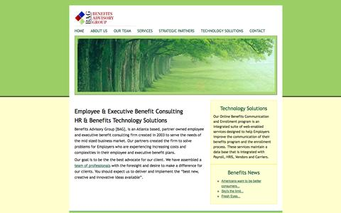 Screenshot of Home Page benefitsadvisorygroup.biz - Benefits Advisory Group Atlanta, Georgia, Executive and Employee Benefits Firm offering World class Employee Benefits, Estate Planning, Executive Benefits, benefit technology and estate planning with executive and retirement benefits solutions. - captured Sept. 30, 2014