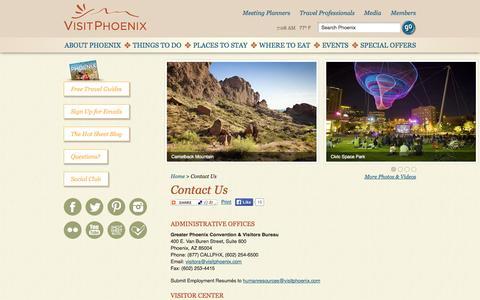 Screenshot of Contact Page visitphoenix.com - Contact Us : VisitPhoenix.com - captured Sept. 19, 2014