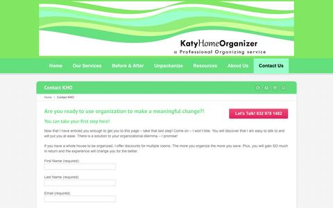 Screenshot of Contact Page katyhomeorganizer.com - Contact Your Houston Area Home Organizer | Call 832 978 1482 - captured Jan. 9, 2016
