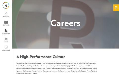 Screenshot of Jobs Page powerreviews.com - Careers • PowerReviews - captured Oct. 1, 2015