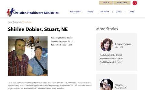 Screenshot of Testimonials Page chministries.org - Stuart, NE              | Christian Healthcare Ministries - captured May 16, 2019