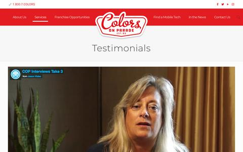Screenshot of Testimonials Page colorsonparade.com - Testimonials - COLORS ON PARADE - captured July 20, 2018