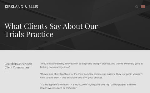 Screenshot of Testimonials Page kirkland.com - What Clients Say About Our Trials Practice | Kirkland & Ellis LLP - captured July 15, 2019