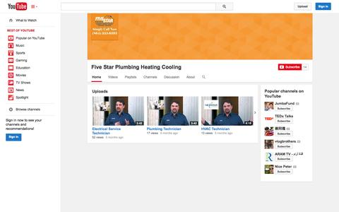 Screenshot of YouTube Page youtube.com - Five Star Plumbing Heating Cooling  - YouTube - captured Oct. 23, 2014