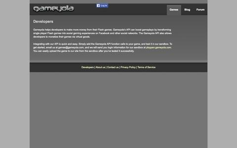 Screenshot of Developers Page gameyola.com - :: Gameyola :: - captured Sept. 29, 2014