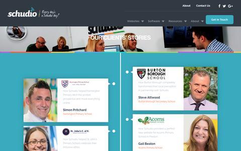 Screenshot of Case Studies Page schudio.com - Our Client's Stories - Over 400 School Website Clients - captured Dec. 8, 2018