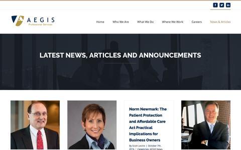 Screenshot of Press Page aegisps.com - News & Articles – AEGIS Professional Services - captured Nov. 19, 2016