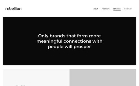 Screenshot of Services Page rebellionuk.com - Rebellion | Branding | Design | Marketing | Strategy | London - captured Nov. 22, 2017