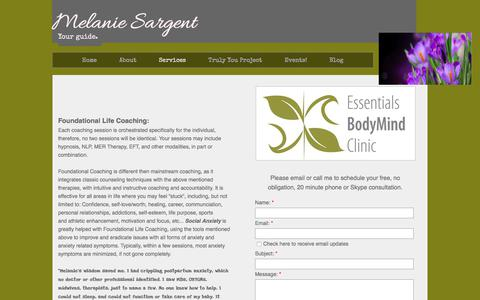 Screenshot of Contact Page melaniesargent.com - Services - captured Aug. 26, 2017