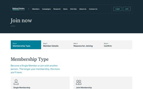 Screenshot of Signup Page nationalseniors.com.au - Membership Type - Join now - captured Oct. 18, 2018