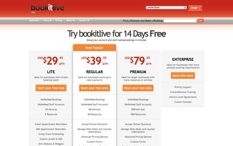 Screenshot of Signup Page Pricing Page bookitlive.net - Pricing and Signup Information - Book Online Now with bookitlive, Online Appointment Booking & Scheduling Software - captured Oct. 23, 2014