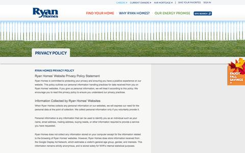 Screenshot of Privacy Page ryanhomes.com - Privacy Policy - Ryan Homes - captured Sept. 23, 2014