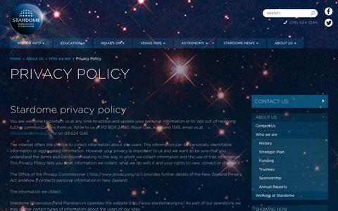 Screenshot of Privacy Page stardome.org.nz - Privacy Policy  | Stardome Observatory & Planetarium - Auckland, New Zealand - captured Oct. 7, 2014