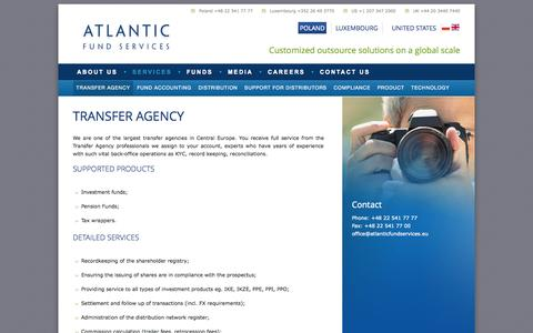 Screenshot of Services Page atlanticfundservices.eu - TRANSFER AGENCY | Atlantic Fund Services - captured Oct. 4, 2014