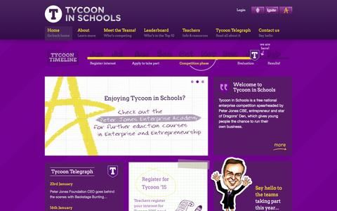 Screenshot of Home Page tycooninschools.com - Tycoon in Schools | Getting Britain's school children involved in enterprise and entrepreneurship - captured Jan. 26, 2015