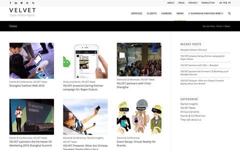 Screenshot of Press Page velvetgroup.com - News & Insights - VELVET - captured Dec. 10, 2016