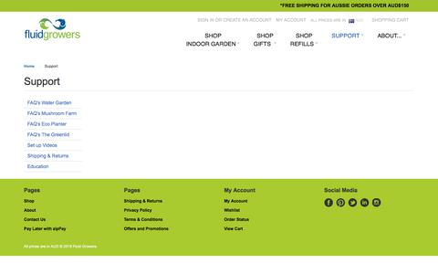 Screenshot of Support Page fluidgrowers.com.au - Support - captured Aug. 18, 2018
