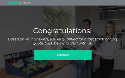 Screenshot of Landing Page snacknation.com captured Sept. 19, 2018