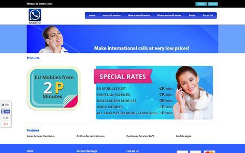 Screenshot of Products Page ecomo.me - ecomo - captured Oct. 6, 2014